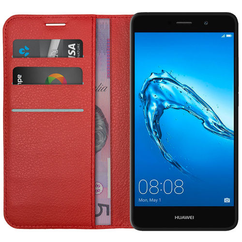 Leather Wallet Case & Card Holder & Cash Pouch for Huawei Y7 - Red
