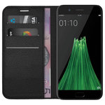 Leather Wallet Case & Card Holder & Cash Pouch for Oppo R11 - Black