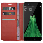 Leather Wallet Case & Card Holder & Cash Pouch for Oppo R11 - Red
