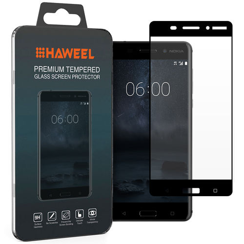 Full Coverage Tempered Glass Screen Protector - Nokia 6 (2017) - Black