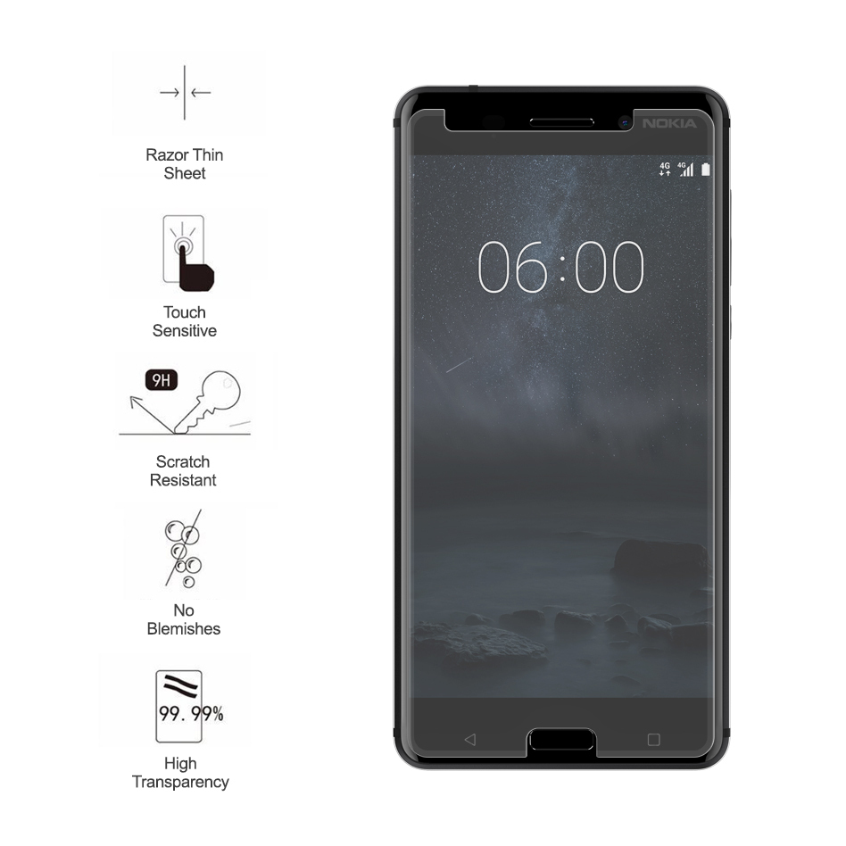 9h Tempered Glass Screen Protector Nokia 6 Clear