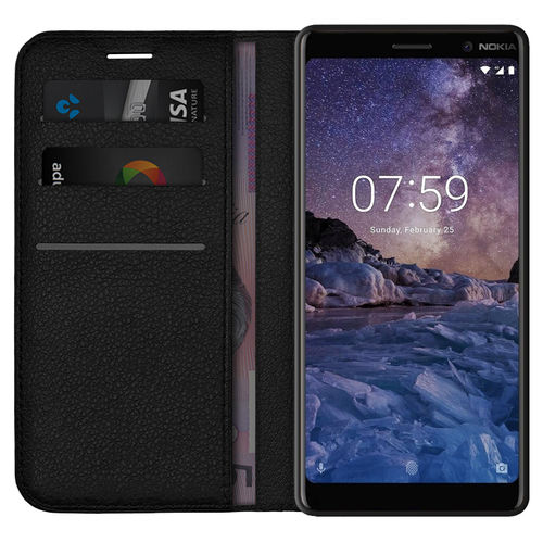 Leather Wallet Case & Card Holder Pouch for Nokia 7 Plus - Black