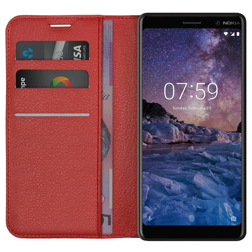 Leather Wallet Case & Card Holder Pouch for Nokia 7 Plus - Red