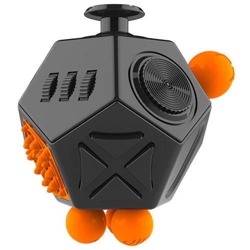 12 Sided Mega Fidget Cube Anti-Stress & Anxiety Reliever - Black