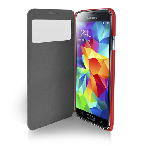 Orzly Display Window Peek View Flip Case for Samsung Galaxy S5 - Red