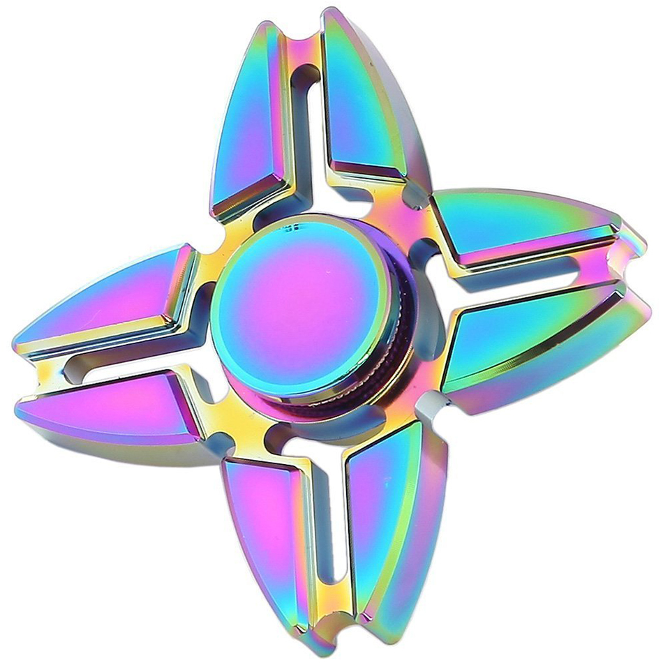 Zinc Alloy Rainbow Fidget Spinner 4 Side Crab Blade