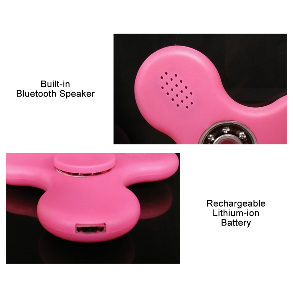 Bluetooth Fidget Spinner Speaker Amp Colour Led Light Pink