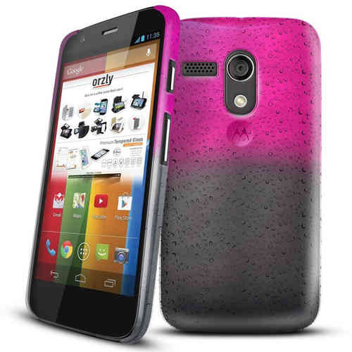 Orzly Raindrop Texture Hard Case for Motorola Moto G 1st Gen - Pink