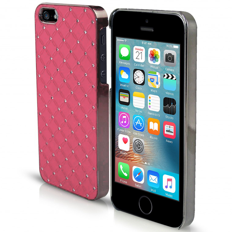 best sneakers 67a2d 4feec Orzly Diamond Sparkle Hard Case for Apple iPhone SE / 5 / 5s - Pink