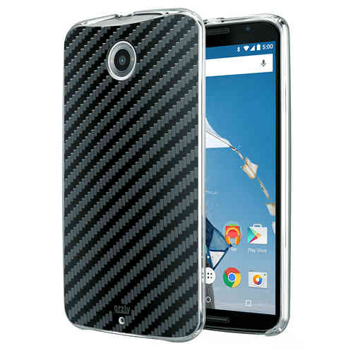 Orzly Textured Hard Shell Case for Google Nexus 6 - Carbon Fibre