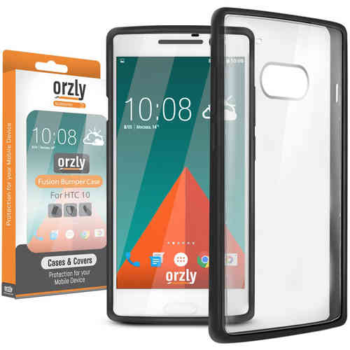 Orzly Fusion Frame Cushioned Bumper Case for HTC 10 - Black / Clear