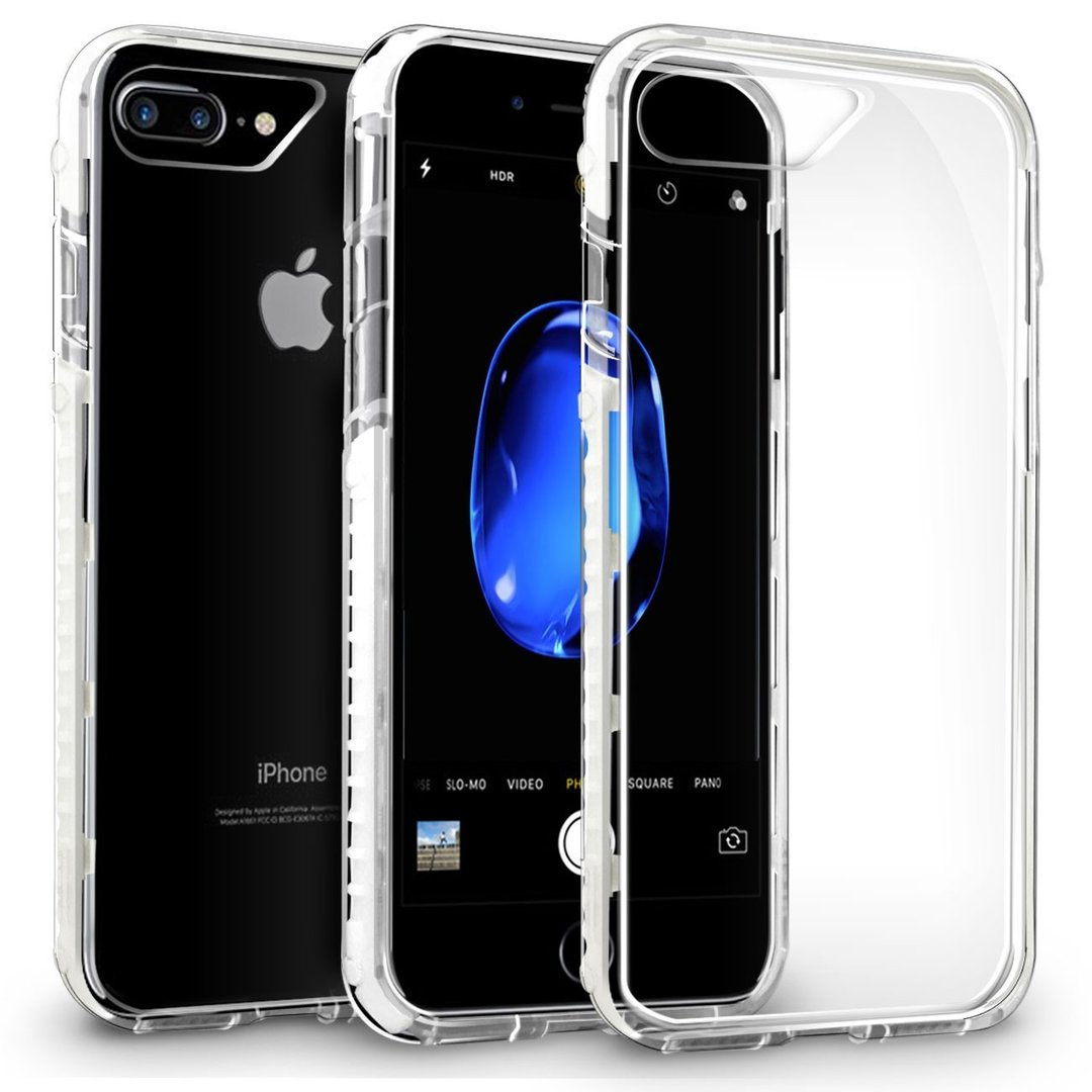 Orzly Fusion Bumper Case Apple Iphone 8 Plus 7 White Totu Design Crystal Color Dark Blue Frame