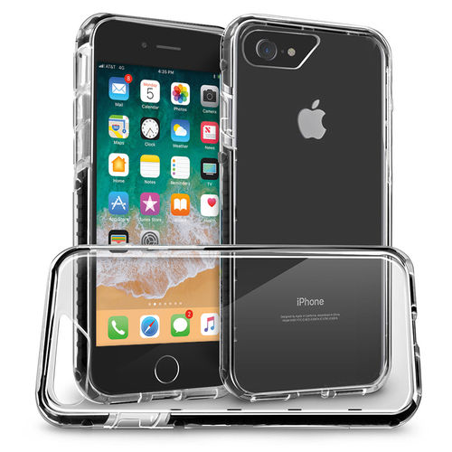Orzly Fusion Frame Bumper Case for Apple iPhone 8 / 7 - Black (Clear)