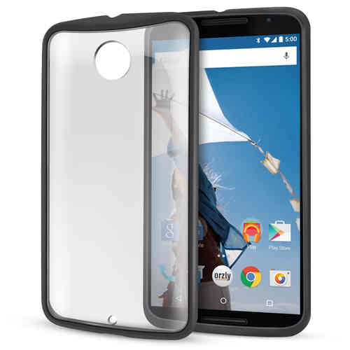 Orzly Fusion Frame Bumper Case for Google Nexus 6 - Black (Clear)