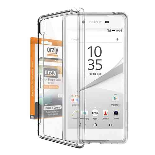 Orzly Fusion Frame Bumper Case for Sony Xperia Z5 - Crystal Clear