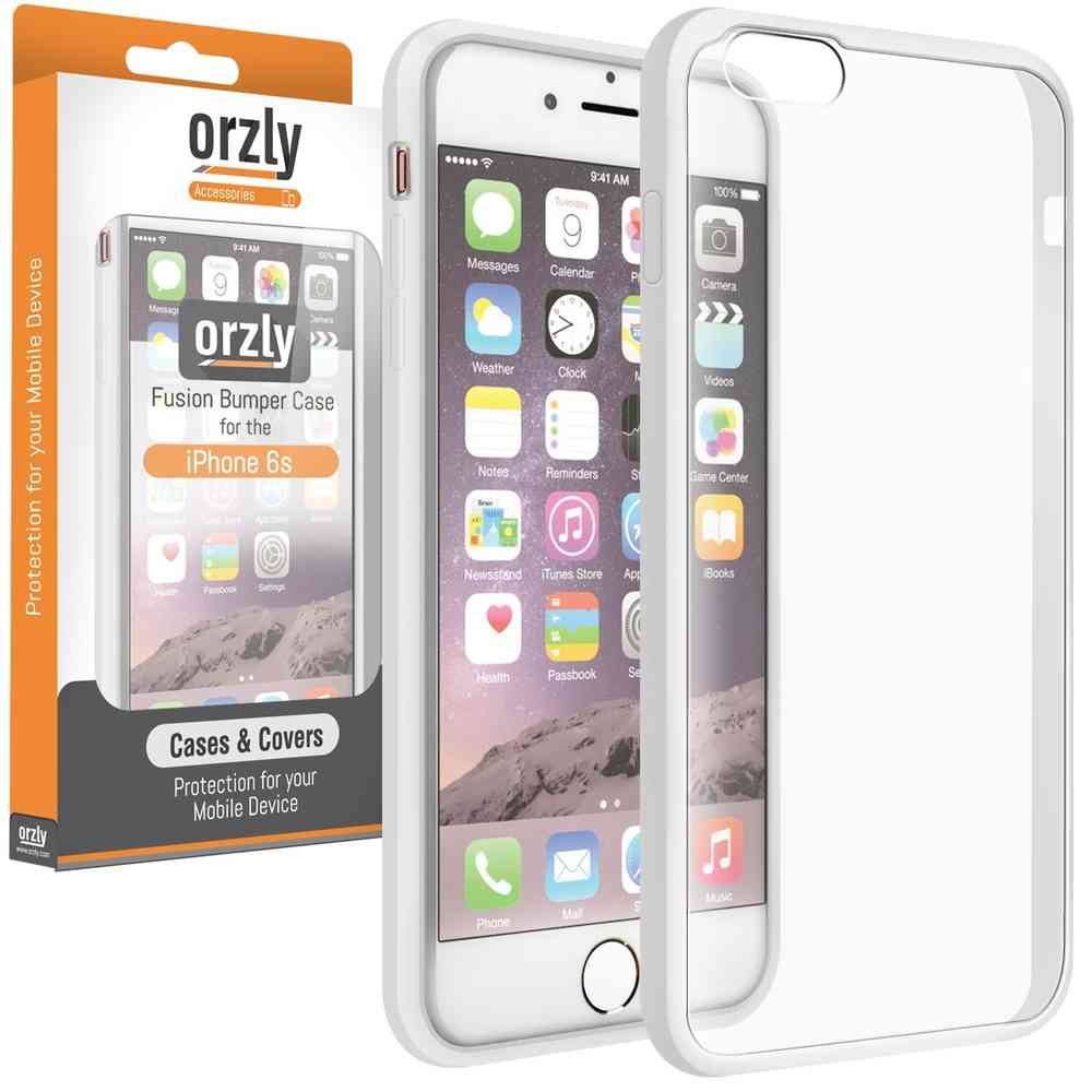 Orzly Fusion Bumper Case For Apple Iphone 6s White Frame Clear