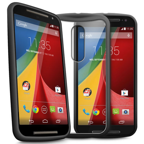 Orzly Fusion Bumper Case for Motorola Moto G (2nd Gen) - Black / Clear
