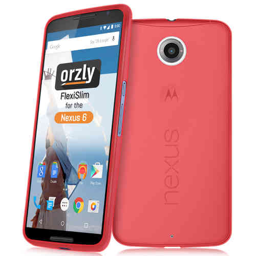 Orzly Flexi Slim Case for Google Nexus 6 - Frosted Red