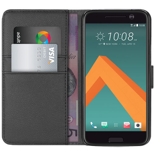 Orzly Leather Wallet Case & Card Holder for HTC 10 - Black