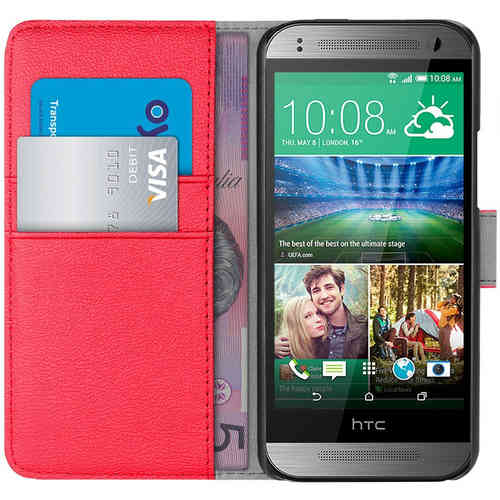Orzly Leather Wallet Case (Card Holder) for HTC One Mini 2 - Red