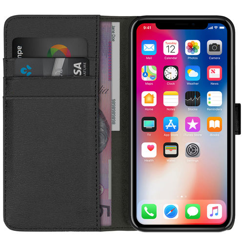 Orzly Premium Leather Wallet Case for Apple iPhone X - Black