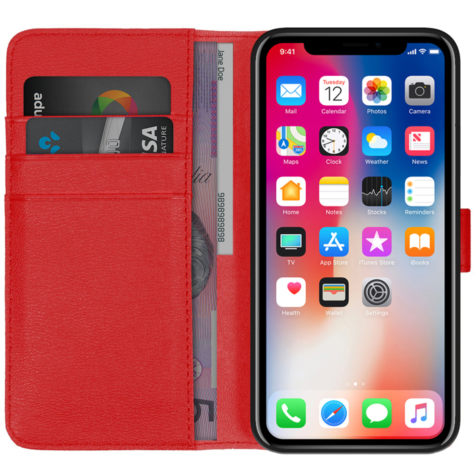 cheap for discount 9a679 87333 Orzly Premium Leather Wallet Case - Apple iPhone Xs (Red)