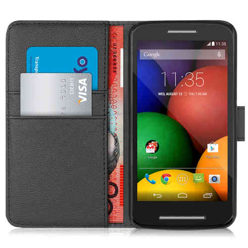 Orzly Leather Wallet Flip Case for Motorola Moto E (1st Gen) - Black