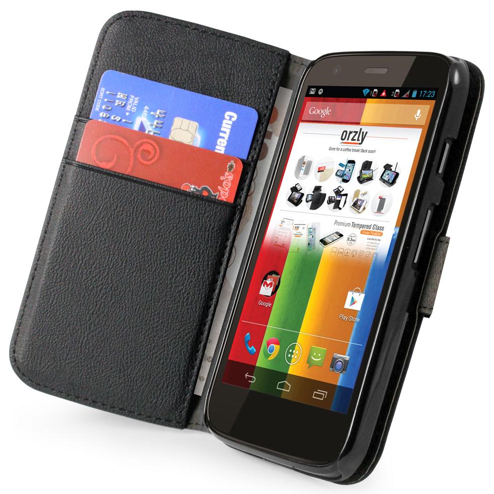 Orzly leather wallet case motorola moto g 1st gen black for Housse motorola moto g