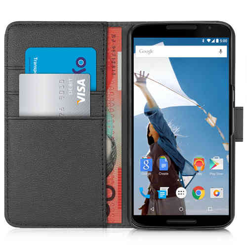 Orzly Leather Wallet Card Slot Holder Case for Google Nexus 6 - Black