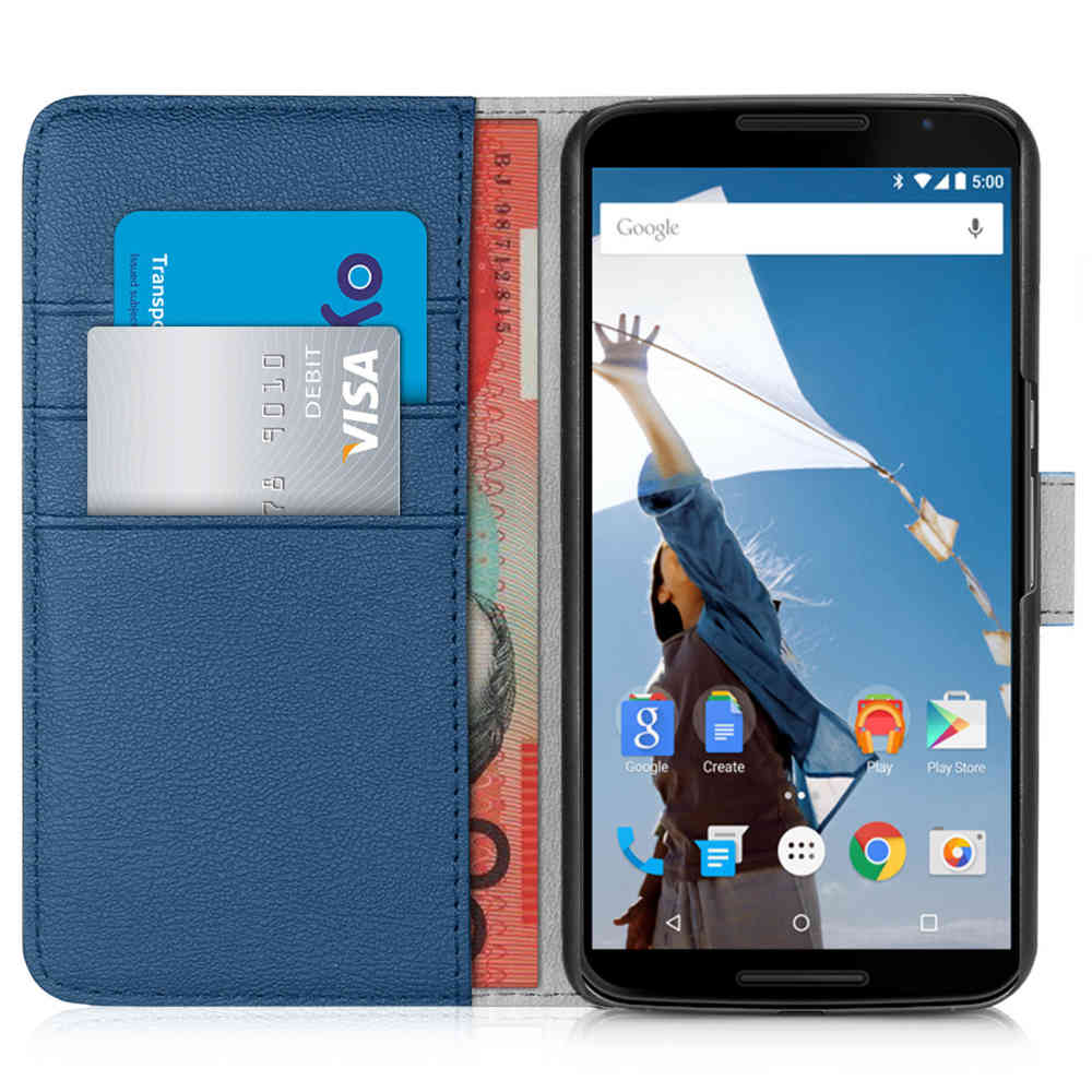 info for eccd0 f2c02 Orzly Leather Wallet Case for Google Nexus 6 (Blue)