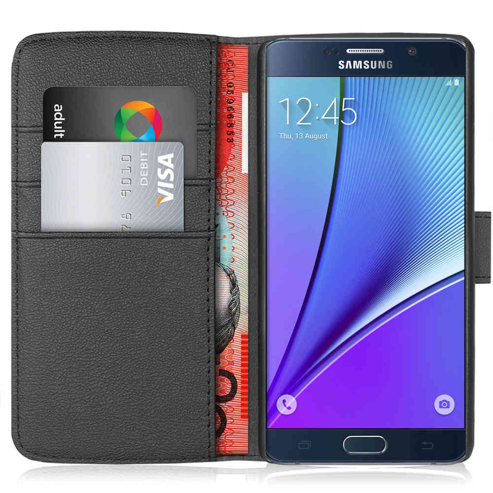 official photos 09757 da025 Orzly Leather Wallet Case - Samsung Galaxy Note 5 (Black)