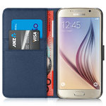 Orzly Leather Wallet Case & Card Holder for Samsung Galaxy S6 - Blue
