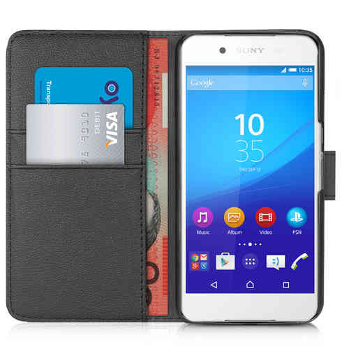 Orzly Leather Wallet Flip Case for Sony Xperia Z3 Plus / Z4 (Black)