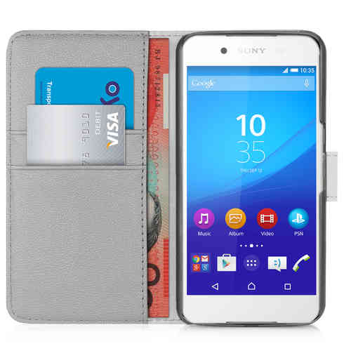 Orzly Leather Wallet Flip Case for Sony Xperia Z3 Plus / Z4 (Grey)