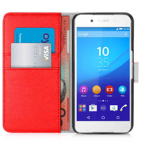 Orzly Leather Wallet Flip Case for Sony Xperia Z3 Plus / Z4 (Red)