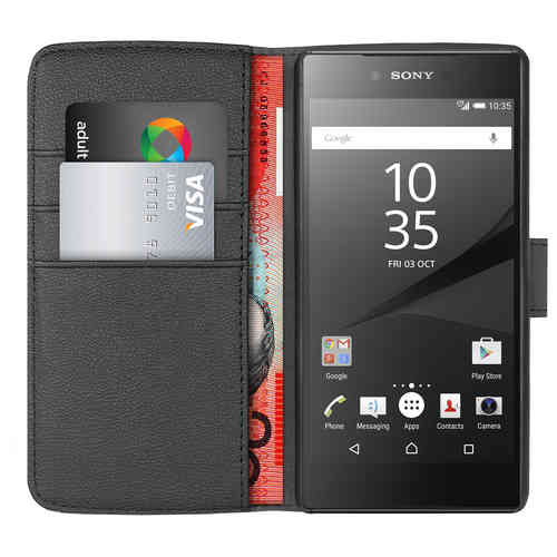 Orzly Leather Wallet Case (Card Holder) for Sony Xperia Z5 - Black