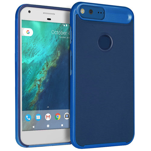 Orzly AirFrame Hybrid Bumper Case for Google Pixel Phone - Blue