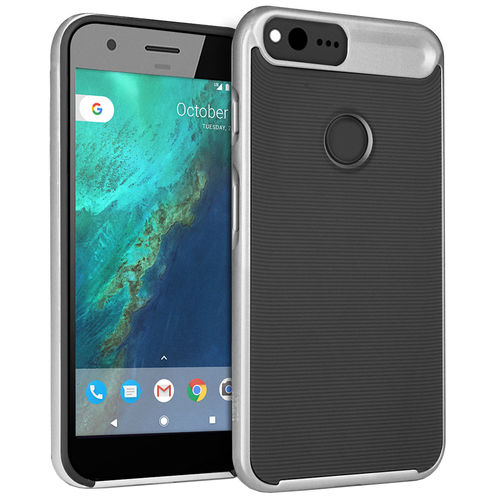 Orzly AirFrame Hybrid Bumper Case for Google Pixel Phone - Silver