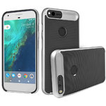 Orzly AirFrame Hybrid Bumper Case for Google Pixel XL Phone - Silver
