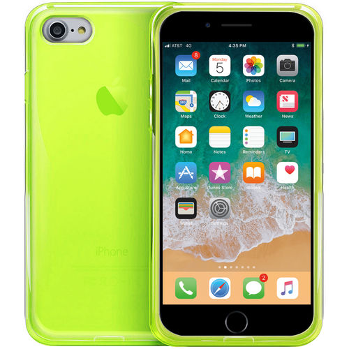 Orzly Flexi Gel Crystal Case for Apple iPhone 8 / 7 - Fluro Green
