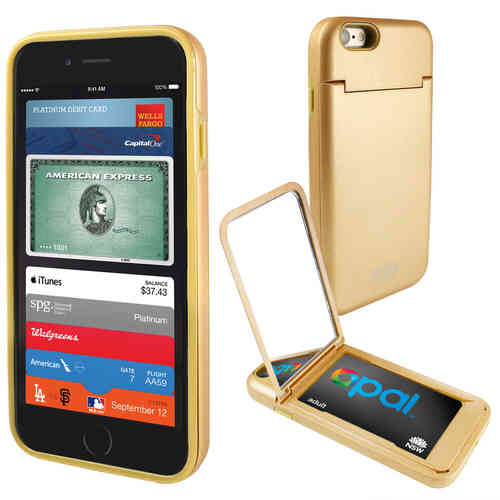 Orzly Mirror Case & Card Slot Holder for Apple iPhone 6s - Gold
