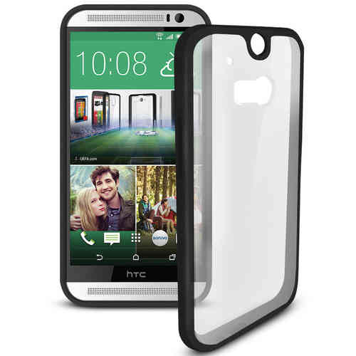 Sonivo Fusion Frame Bumper Case for HTC One M8 - Black (Clear)