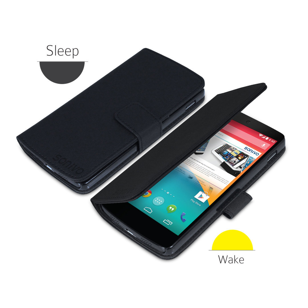 Sonivo Leather Wallet Case - Google Nexus 5 (Black)