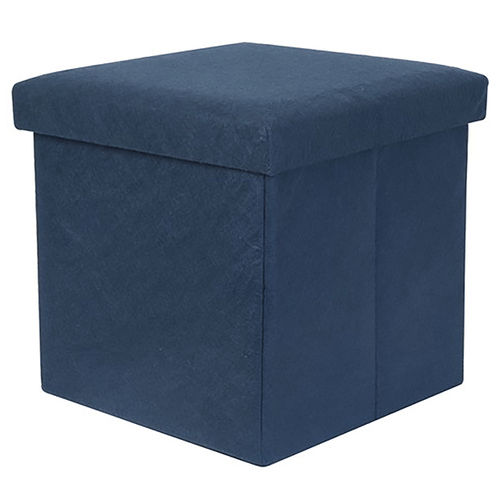 Present Time Foldable Felt Cube Storage Stool & Foot Rest - Blue