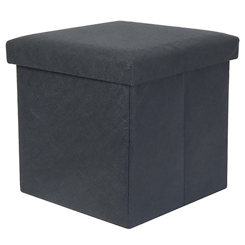 Present Time Foldable Felt Cube Storage Stool & Foot Rest - Grey