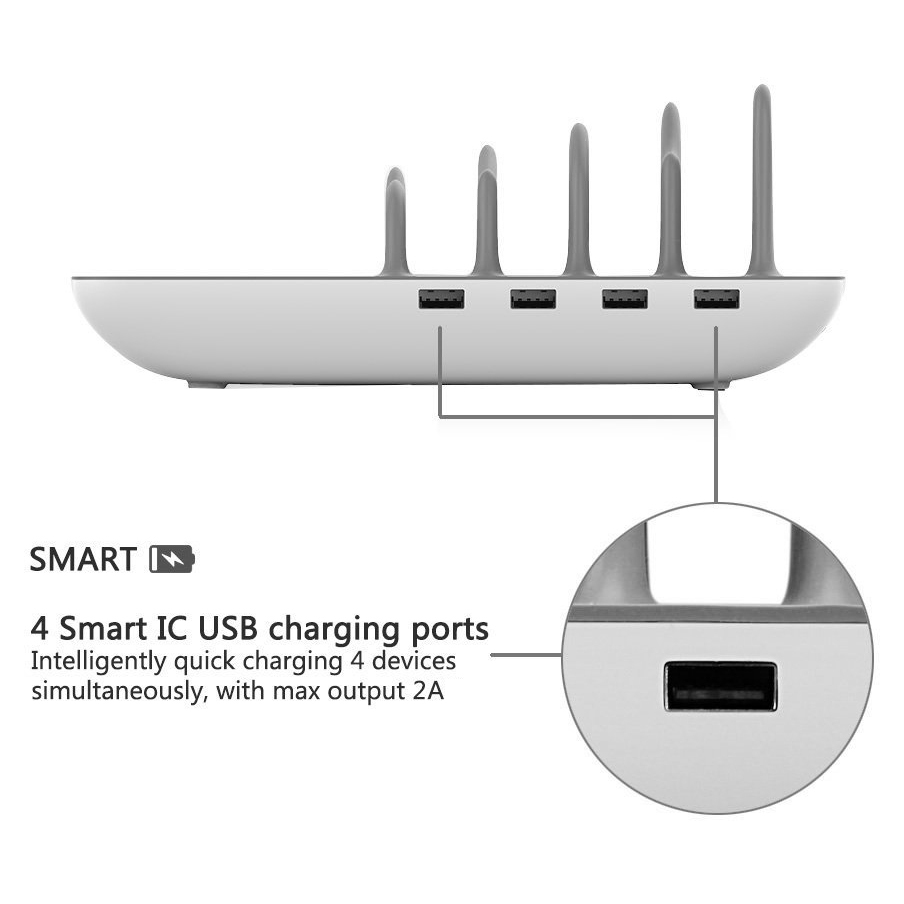 Laser 8A 4-Port USB Fast Charging Station / Qi Wireless Charger
