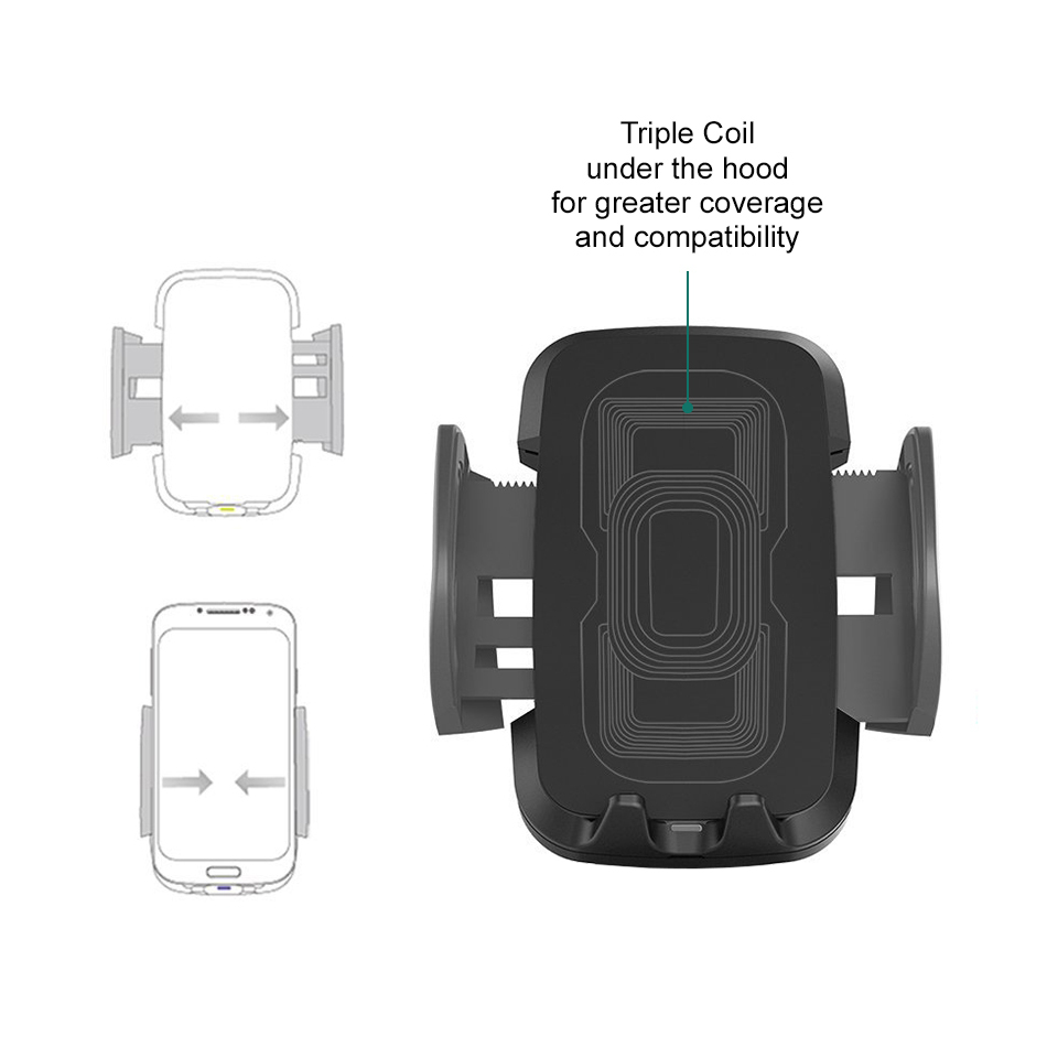 qi wireless charging car mount apple iphone x iphone 8. Black Bedroom Furniture Sets. Home Design Ideas