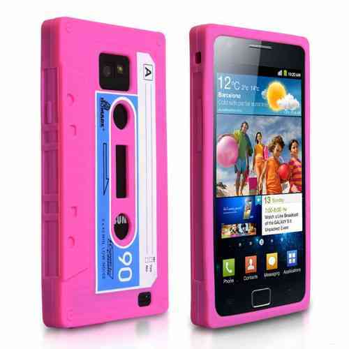 Retro 80s Cassette Tape Case for Samsung Galaxy S2 - Pink
