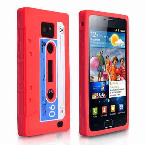 Retro 80s Cassette Tape Case for Samsung Galaxy S2 - Red