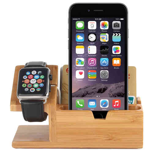 Bamboo Wooden 3-Port USB Charger Desk Stand for Apple Watch / iPhone